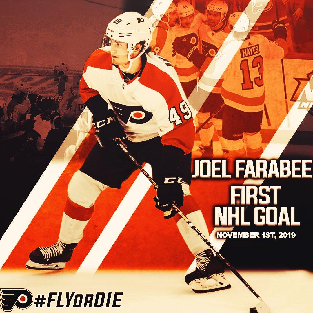 Congrats @FarabeeJoel  on your first @NHL Goal! 🚨🚨🚨 @NHLFlyers  #JoelFarabee #PhiladelphiaFlyers #Flyers #Letsgoflyers