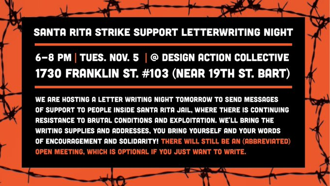 Santa Rita Strike Support Letter Writing Night @ Design Action Collective