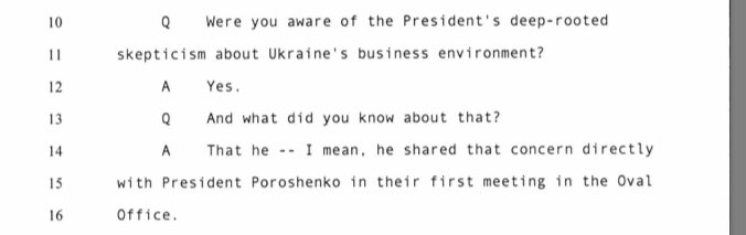 """Ambassador Yovanovitch testified that President Trump had a """"deep rooted skepticism"""" about corruption in Ukraine. And she shared that concern.  President Trump wanted to make sure that American taxpayer dollars weren't being wasted on a corrupt nation. (p. 142-143)"""