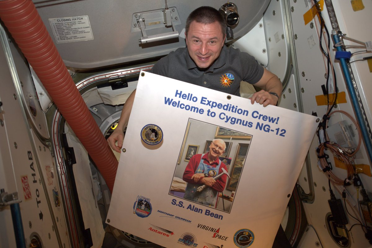 Today we welcomed Cygnus NG-12 to the @space_station (@iss), named in memory of Alan Bean: test pilot, astronaut, artist . . . and one of my childhood heroes.