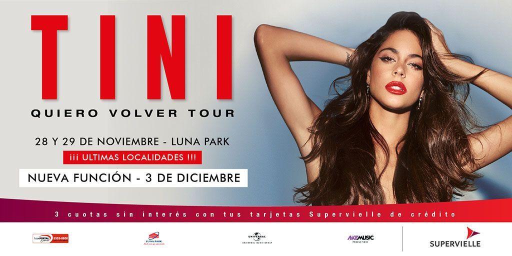 7 funciones de #QuieroVolverTour en el #LunaPark!!! @TinitaStoesel agrega otra función más! 03 de diciembre. Las entradas se pondrán a la venta a partir de hoy a las 20 hs. por sistema Ticketportal, y a partir de mañana en boletería del estadio, saludos!