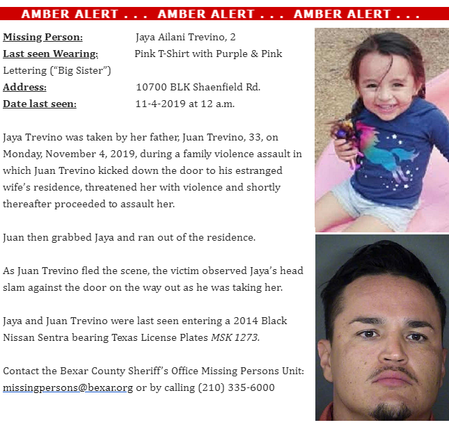 U S Emergency Alert On Twitter Texas Amber Alert For 2 Year Old Jaya Trevino Abducted During An Incident Of Domestic Violence In San Antonio Suspect Vehicle Is A 2014 Black Nissan Sentra With Tx