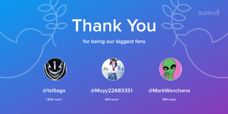 Our biggest fans this week: 1stSaga, Moyy22683351, MarkWanchana. Thank you! via https://sumall.com/thankyou?utm_source=twitter&utm_medium=publishing&utm_campaign=thank_you_tweet&utm_content=text_and_media&utm_term=59d6a1f9f1802768dc16ee82 …