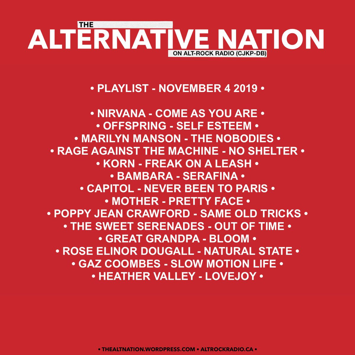 The Alternative Nation on @altrockradioca - November 4 2019 Playlist. Missed the show or live outside of Canada? Listen back on http://mixcloud.com/thealternativenation … #Playlist #Radio #yourFMalternative #InternetRadio #Canada #CanadaRocks #Alternative #Rock #Indie #IndieRock #Musicpic.twitter.com/RI4HKmWAsj