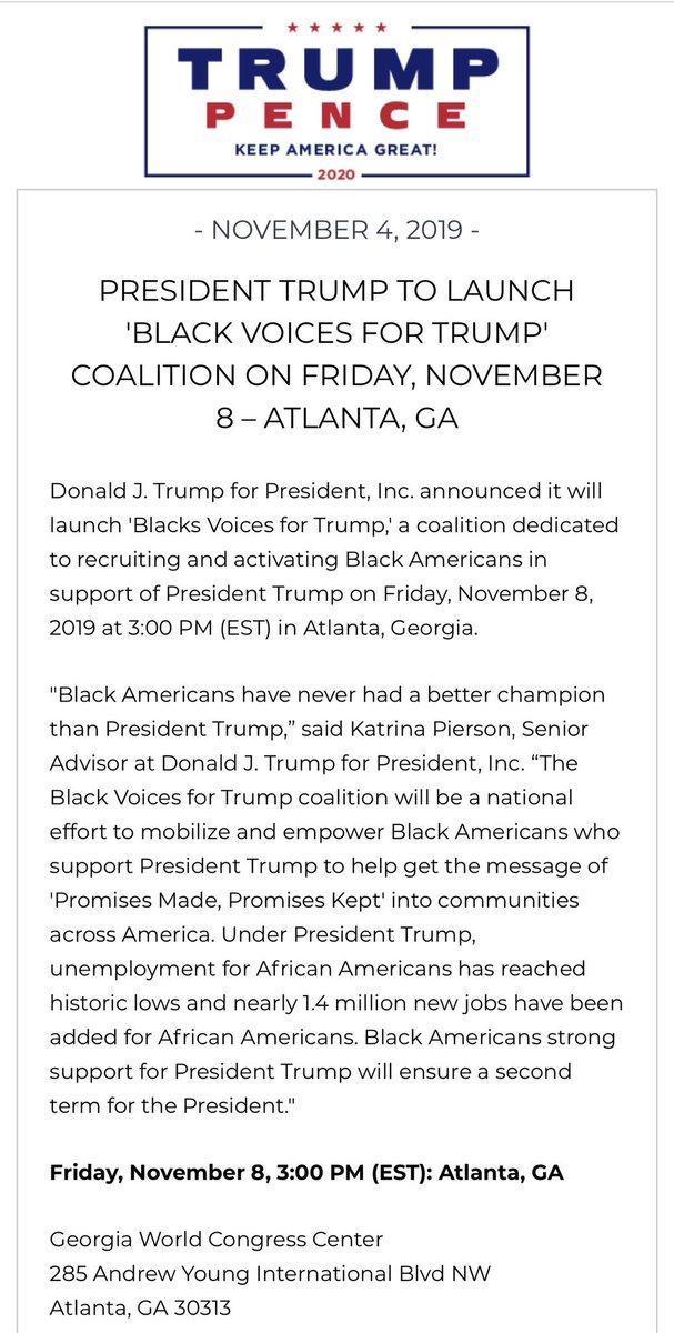 "Get ready Georgia for a  @realDonaldTrump  ""Black Voices Trump Coalition""  #Trump2020 pic.twitter.com/B7jgniK7iN"