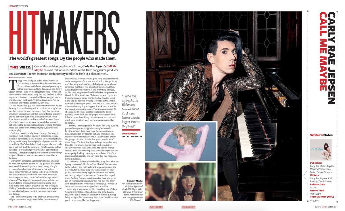 "The new @MusicWeek magazine issue is out today! It features Josh discussing the writing of ""Call Me Maybe"" check it out! 🤘🏼 bit.ly/2Nf7leU"