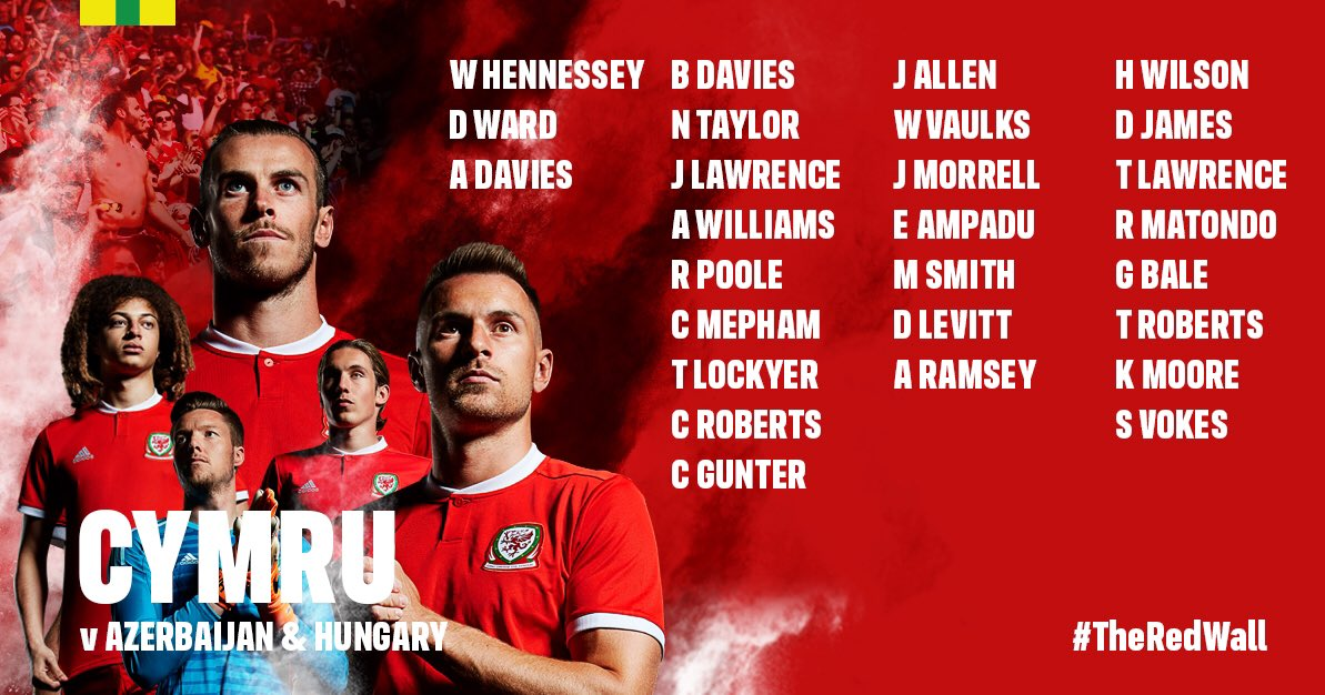 ❗️CYHOEDDIAD CARFAN | SQUAD ANNOUNCEMENT❗️  Here's your Cymru squad for our final @UEFAEURO qualifying matches against Azerbaijan and Hungary later this month 🏴󠁧󠁢󠁷󠁬󠁳󠁿  🎟👉 https://t.co/z7wY8kuZ7M   #TogetherStronger https://t.co/F4EsaFYY2w