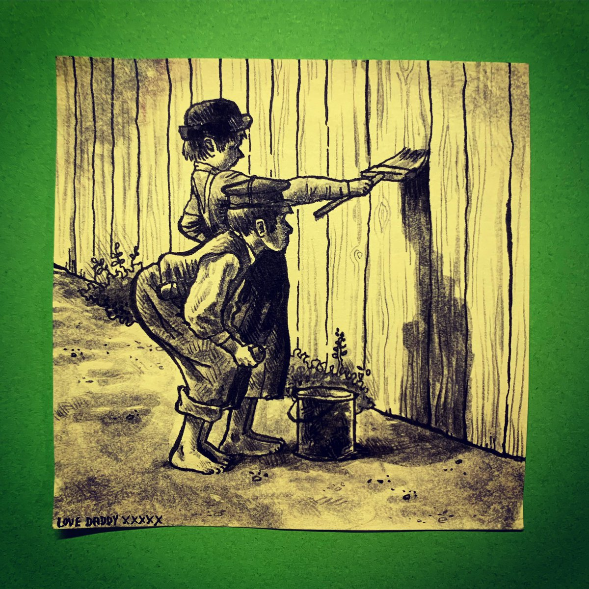 Today, Poppy's #PackedLunchPostIt features Tom Sawyer and Huckleberry Finn whitewashing the fence. Requested by eldest daughter @ellaohno (we read the books together when she was about 12).