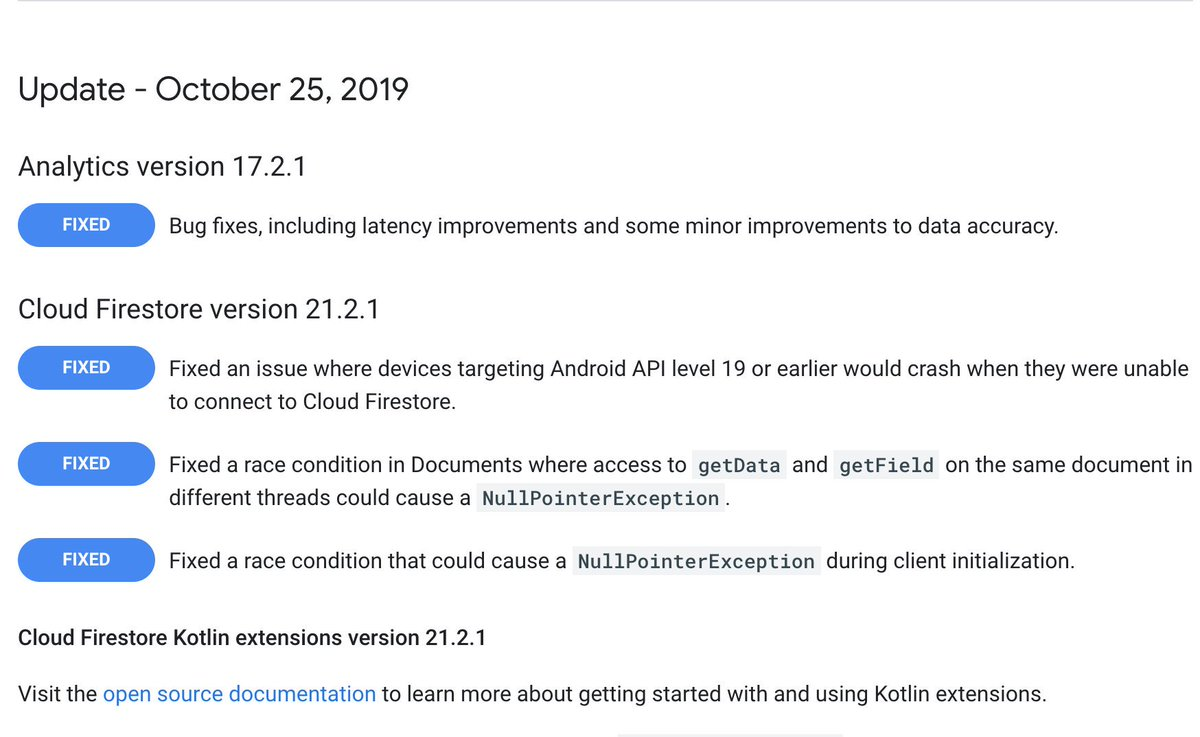 Last month I reported and helped to fix 3 bugs in @Firebase Firestore Android SDK. No more random crashes on Android 4, during client initialization, or when reading data from documents. I ❤️ open source. https://t.co/LAiBKjxlyk