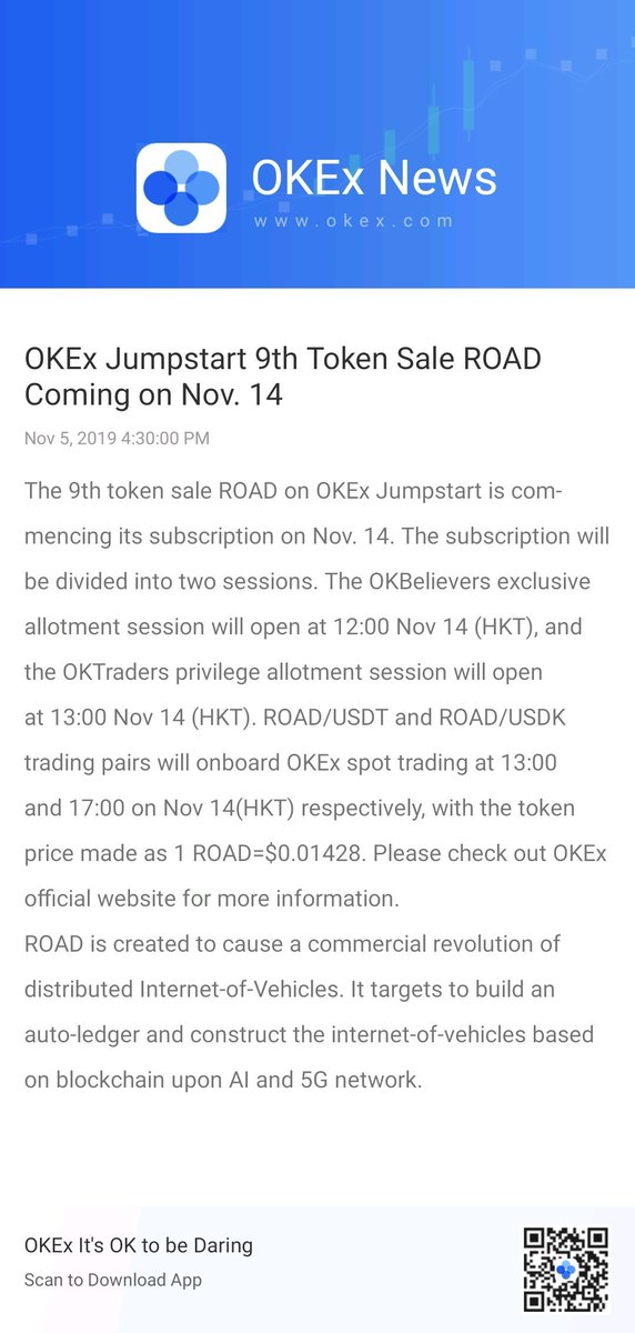 The 9th token sale @ROAD920 on @OKEx Jumpstart is commencing its subscription on Nov. 14.  Congratulations!
