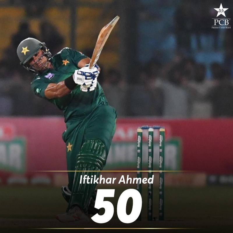 Maiden T20I fifty for Iftikhar Ahmed   #AUSvPAK <br>http://pic.twitter.com/iyx0sX2uux