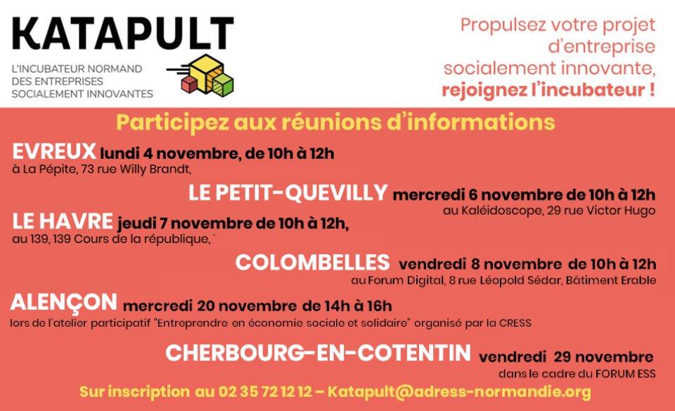 Des réunions d'informations pour présenter l' #incubateur #Katapult en #Normandie ! Inscription par mail : katapult@adress-normandie.org ou par tél :…