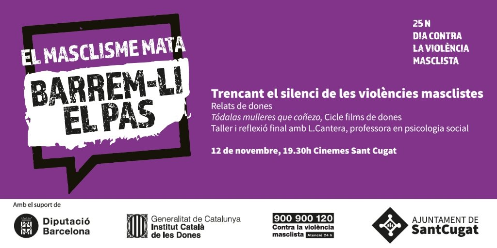 """🔴""""Trencant el silenci de les violències masclistes"""" 🗓️12 de novembre 🕣19:30h 📌@CinemesStCugat   Més info ♀️ https://t.co/oNfLTPkzfp  #ElMasclismeMata #Barremlielpas #25NDiacontralaviolenciamasclista  @icdones @diba @Nudenu @donesenxarxa"""