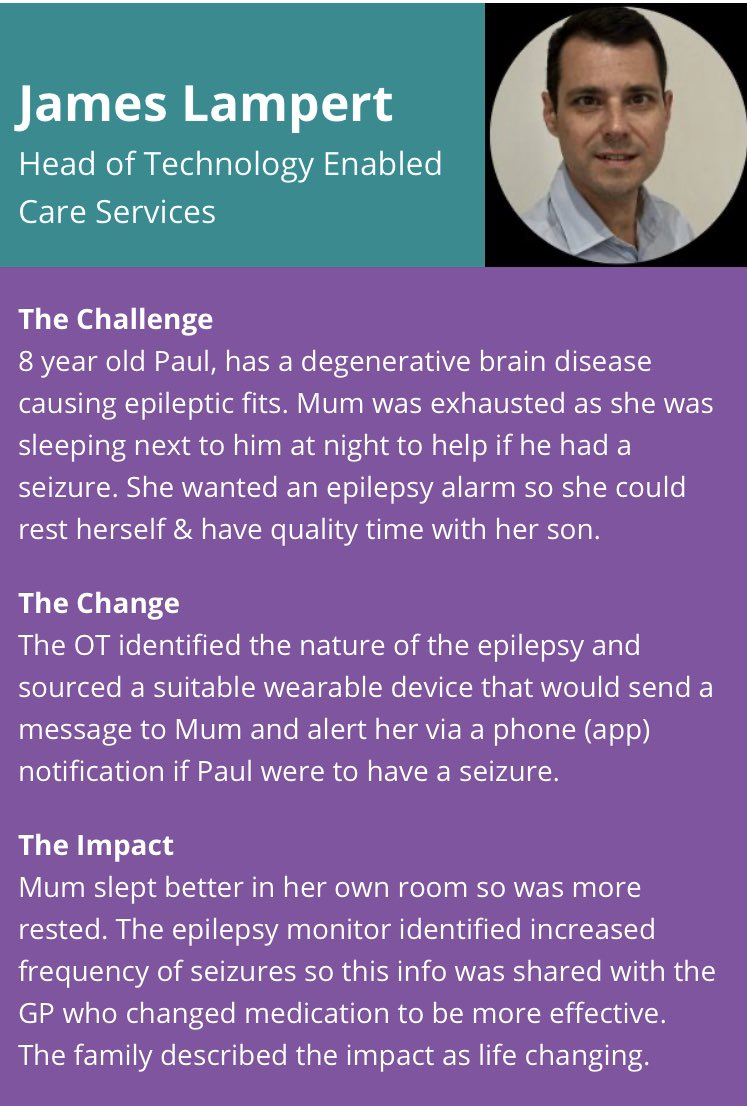 I've shared my #SmallChangeBigImpact  story  http://rcot.co.uk/node/2545   for #OTWeek2019 , just one of the examples of how a specialist OT from @NRSHealthcare  #TECs  can identify an intervention that delivers great outcomes for everyone #carers