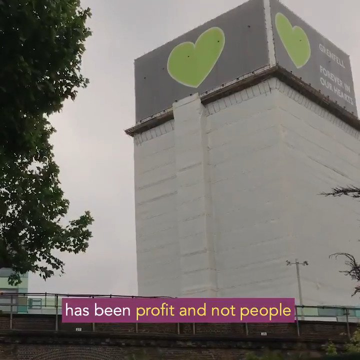 Grenfell is a symbol of everything thats wrong with Britain. Years of austerity and a system thats rigged against working-class families. We stand with everyone affected by #Grenfell - and we vow to fight alongside them for justice. 💚
