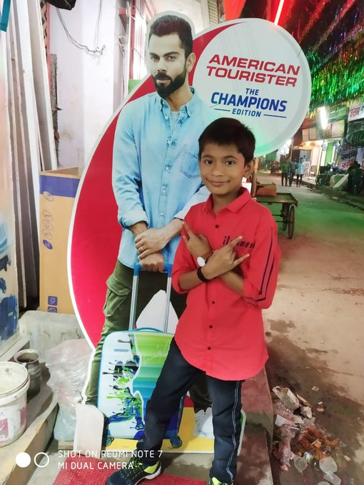 My son wishes happy birthday to Virat Kohli ...Fully mad fan of Virat.