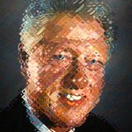 Image for the Tweet beginning: Chuck Close's presidential portrait of