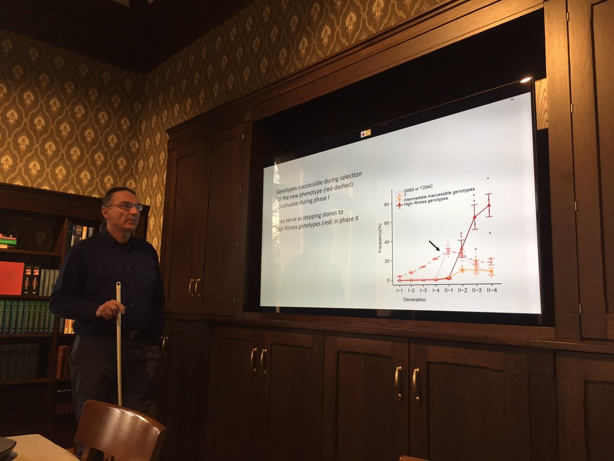 """Enjoyed a great talk by Andreas Wagner (@WagnerEvolution) today at @CASOslo about """"Cryptic variation and #evolvability in a simple molecular system""""."""
