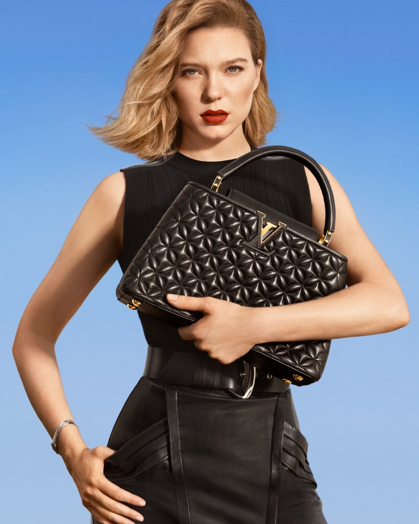 #LeaSeydoux and the Capucines. Explore the latest models of New Classics from #LouisVuitton's leather goods campaign at on.louisvuitton.com/60121z8bq