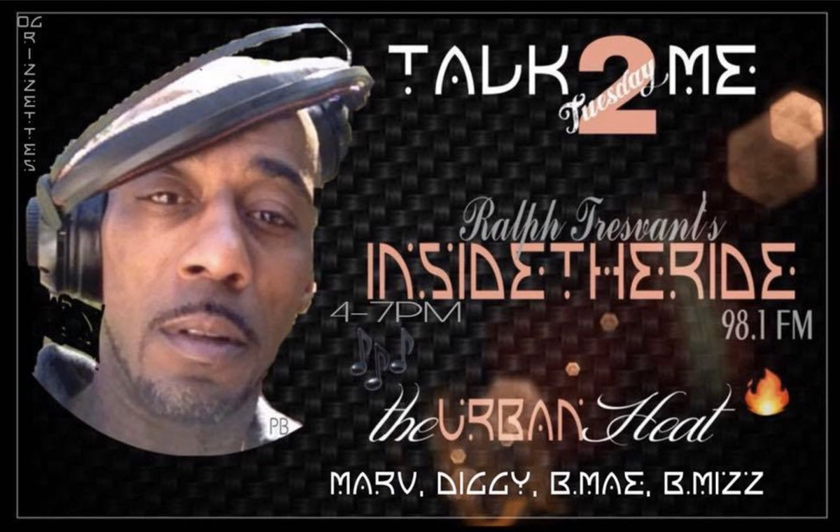 GM! It's Talk2Me2sday! @RalphTresvant 's #InsideTheRide! Join Us on 98.1FMTheUrbanHeatToday 4-7PM w/ @MarvNeal  @The1TrueJDiggy B.Mae & @Bigmiz0380Payne There'sNoPlaceLikeTheRide  (beep beep)<br>http://pic.twitter.com/7kVwoPFqMe