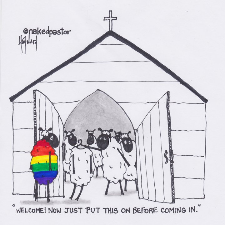 DON'T MAKE US UNCOMFORTABLE OR CHANGE Do we have any idea how many people are pressured to hide who they really are? (Get this cartoon or prints in my shop!) http://www.nakedpastorstore.com/blogs/news/dont-make-us-uncomfortable-or-change…