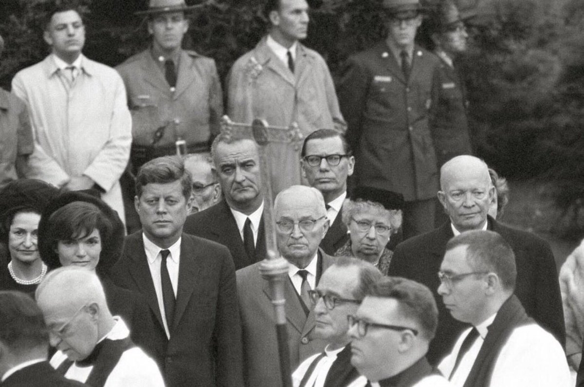 Presidents and First Ladies at Hyde Park NY service for Eleanor Roosevelt, who died this week 1962:          #FDRL