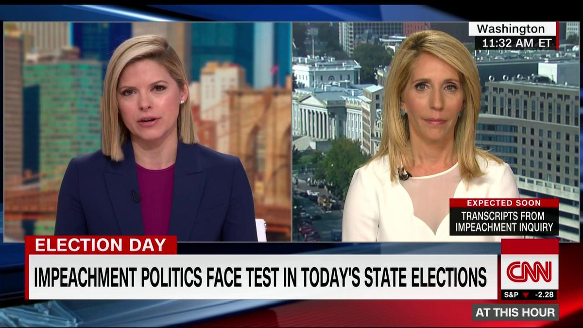 "Races today in Kentucky, Mississippi and Virginia may signal how voters are feeling amid the impeachment inquiry and heading into a presidential election year. ""Donald Trump is making it about Donald Trump. And rightly so. He should be,"" @DanaBashCNN says cnn.it/2WPiDtI"