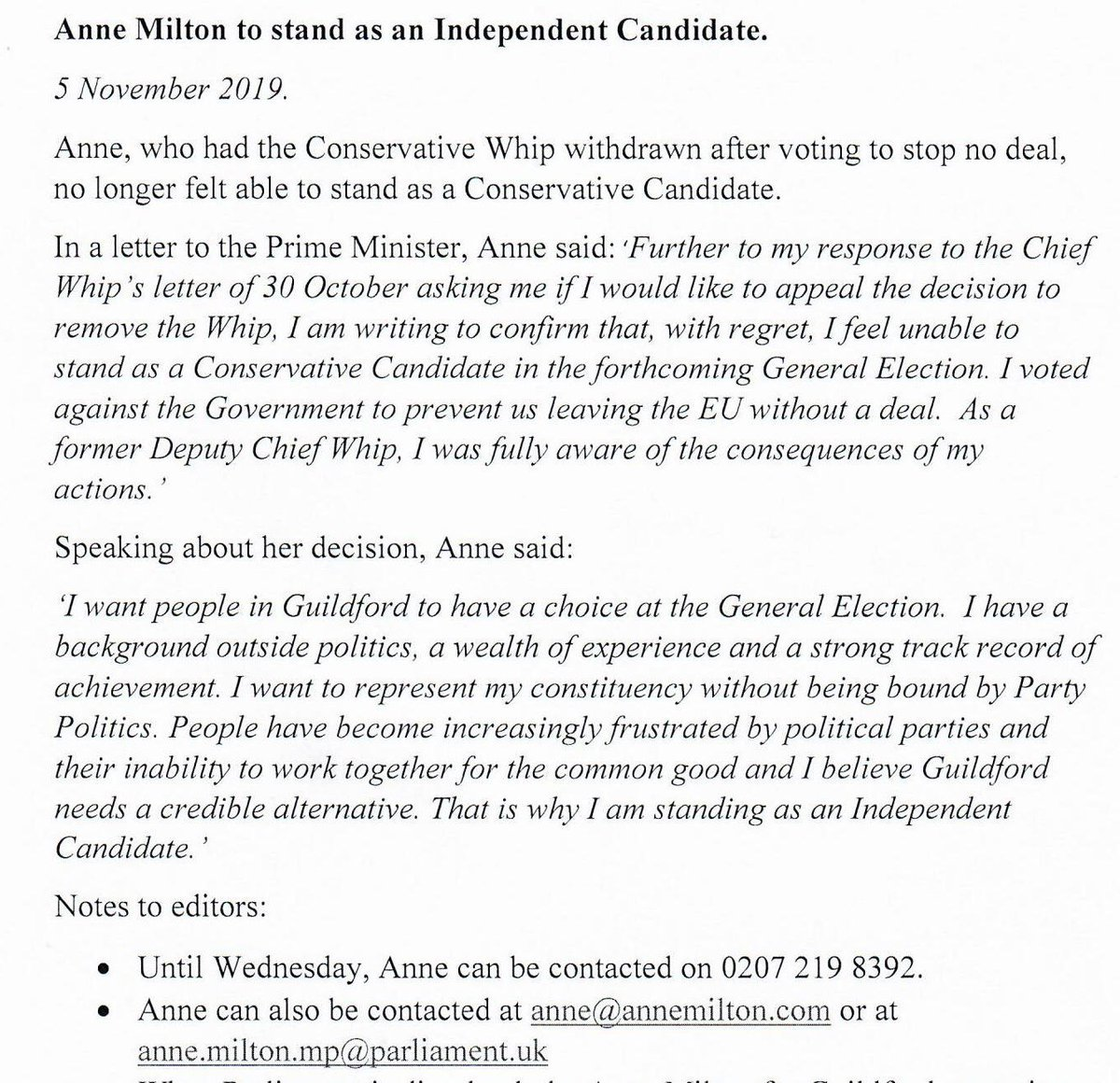I wrote to the PM yesterday to tell him I felt unable to be a Conservative Candidate. I have considered very carefully what is best to do and will stand as an Independent Candidate at the next General Election. #AnnesStillStanding