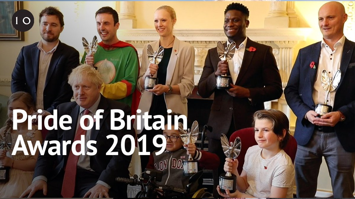 Last week Prime Minister @BorisJohnson welcomed this year's @PrideOfBritain winners to Downing Street, hearing the inspirational stories of heroes from across the UK. #PrideOfBritain