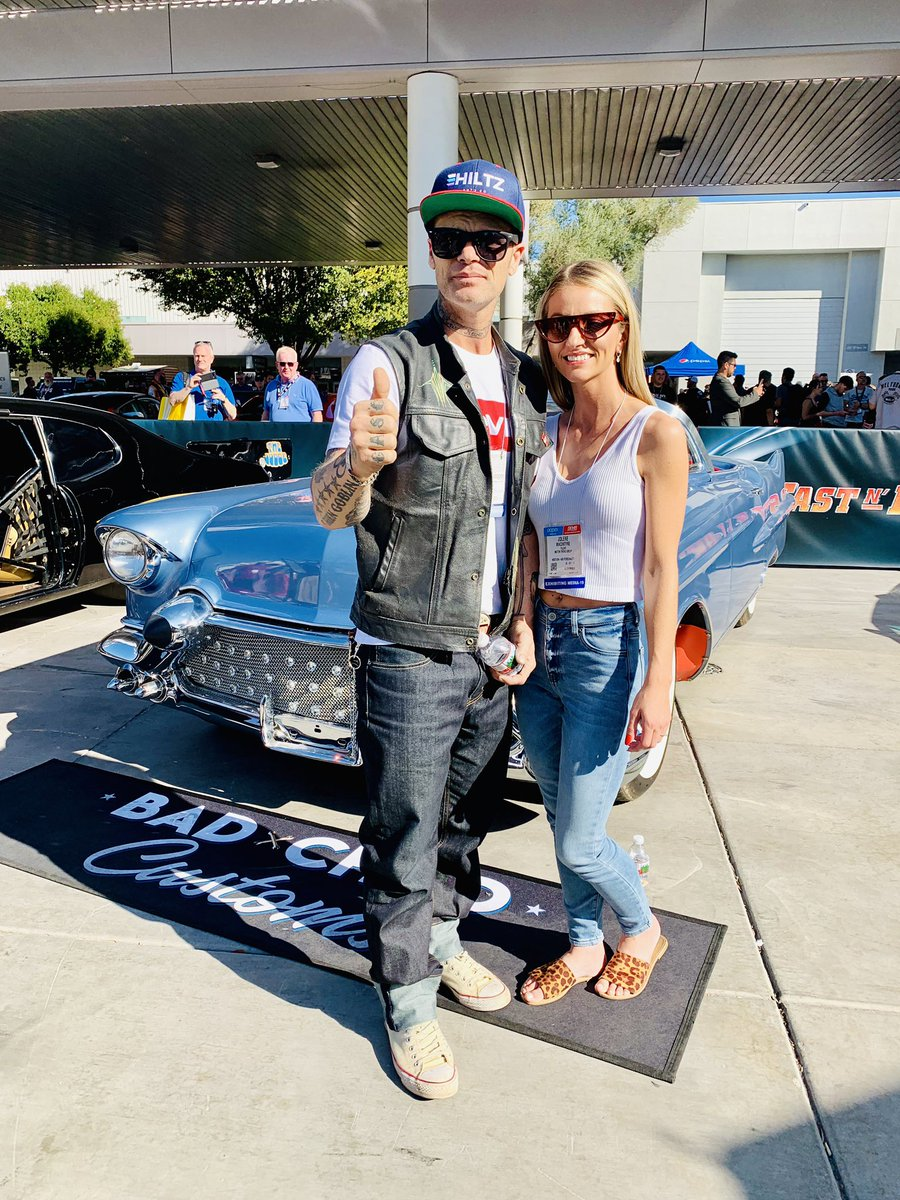 discovery motor on twitter bad chad and jolene of bad chad customs chillin with the chadillac at the discoverymotor booth at sema2019 jolene of bad chad customs chillin