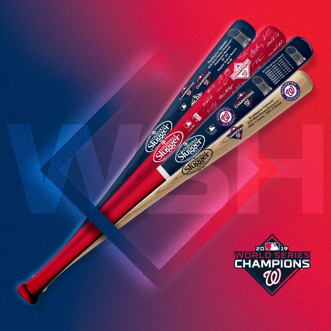 Its 4:31 PM on November 5 and were still #WorldSeries champions. Celebrate with commemorative, limited-edition gear from @sluggernation. Retweet for a chance to win a bat! Rules: mlb.com/nationals/soci…