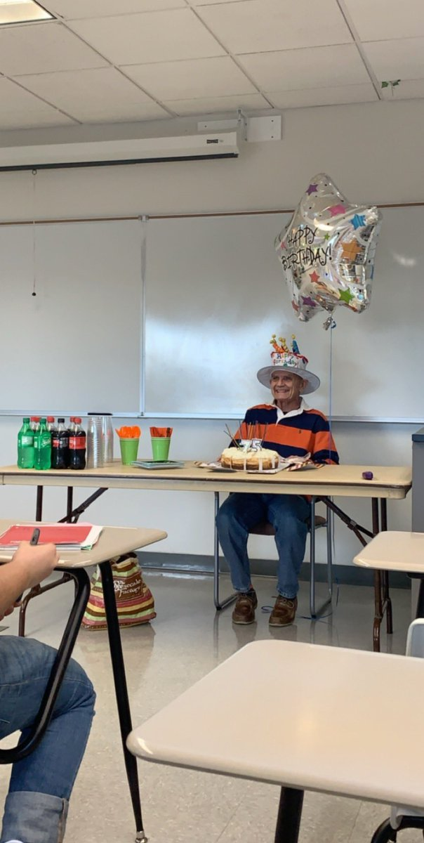 Please look at my professor, he turned 75 and we threw him a surprise party with his favorite cheesecake
