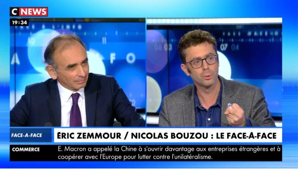 Très heureux de retrouver ce soir @nbouzou dans le face-à-face avec #Zemmour de #Facealinfo sur @CNEWS... Bravo Nicolas Bouzou car vous êtes le premier à remettre ça face à Éric Zemmour 👏🏽👏🏽👏🏽