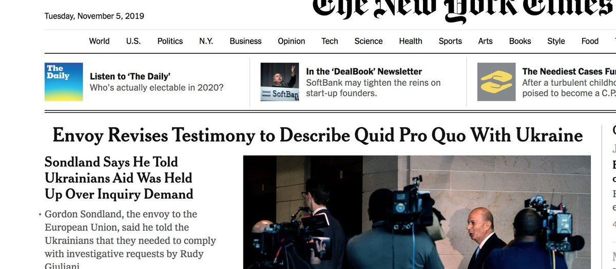 This new headline in NY Times is one that looks like something from Watergate when news broke that turned out to be a key to Nixon's downfall. We now have a Trump appointed ambassador confirming extortion by Trump of Ukrainian govt in exchange for the Biden investigation