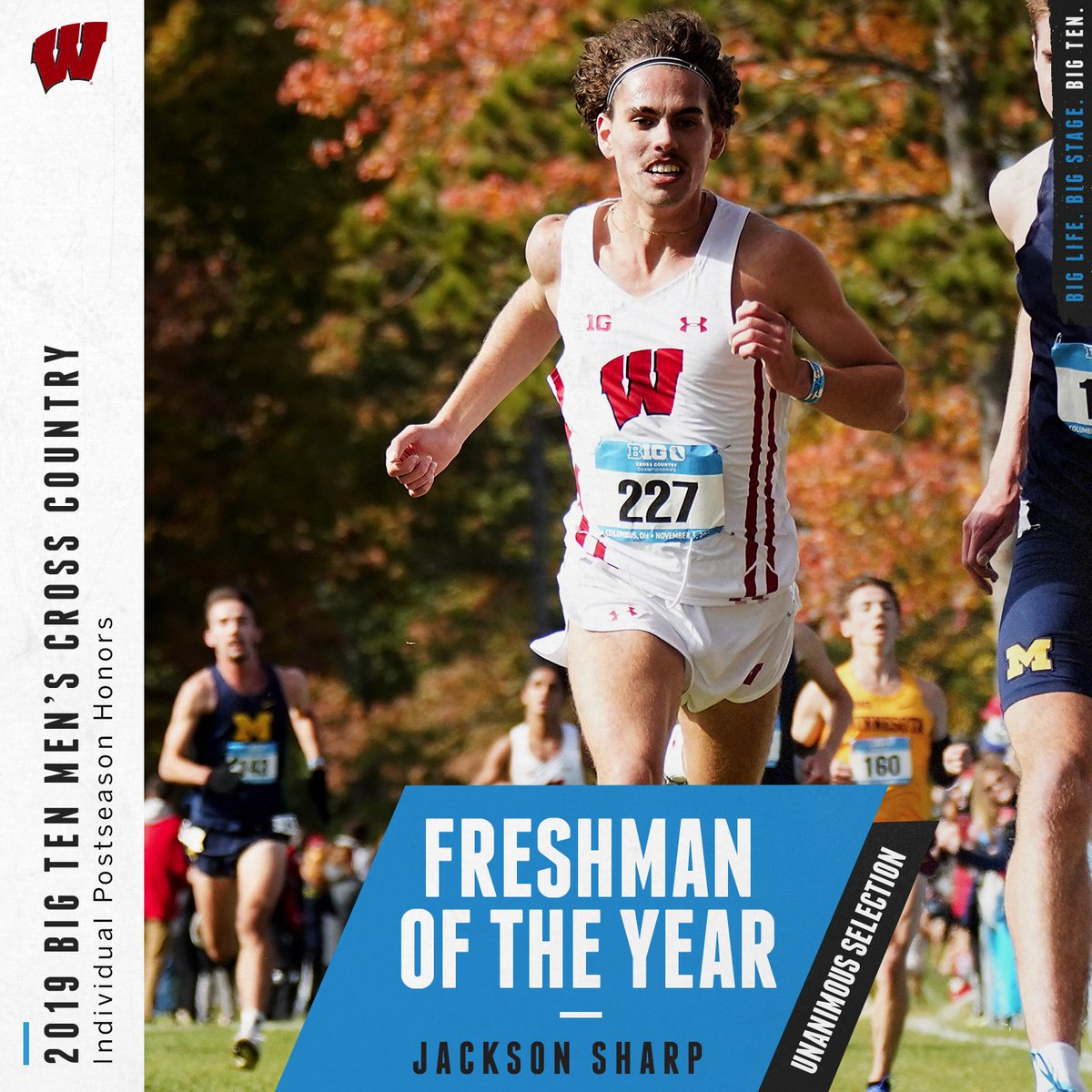 Jackson Sharp of @BadgerTrackXC named 2019 Big Ten Men's Cross Country Freshman of the Year. #B1GXC https://t.co/dJT13HyYnY