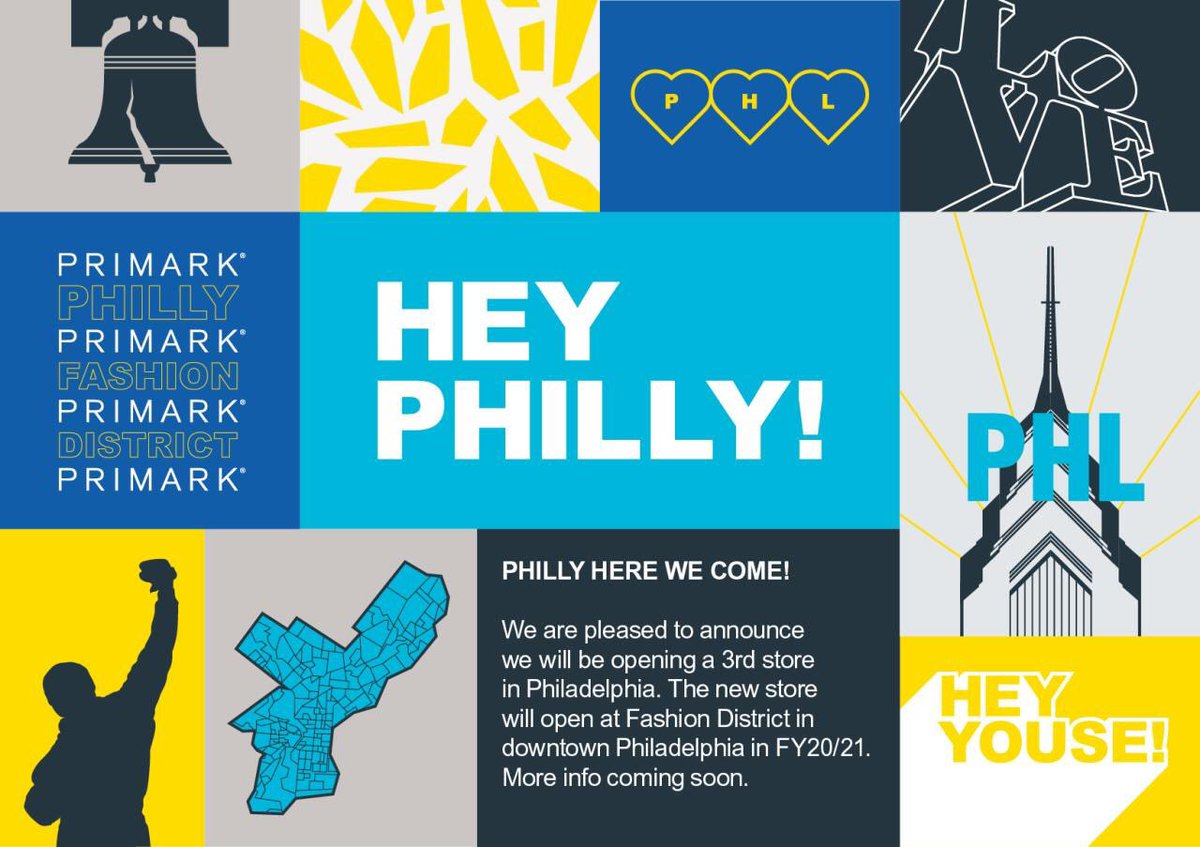Three is the magic number for Primark in Philadelphia! We are so excited to open our third store in Philadelphia in 2020, located in the Fashion District. Want to join our ever growing retail community? Find out more about US opportunities today: https://t.co/EBeEmEJOak https://t.co/o31WIX3MQi