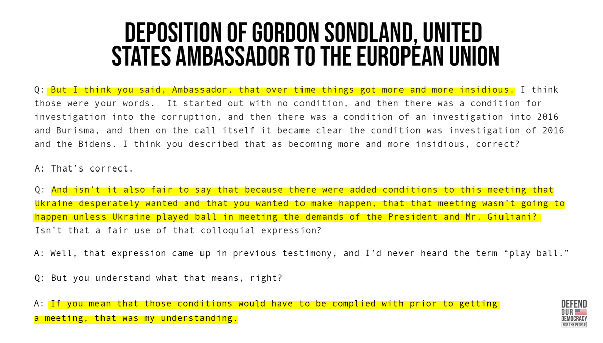 Testimony from Sondland and Volker demonstrates:  ➡️Trump used a White House meeting and military aid to pressure Ukraine to publicly announce political investigations.  ➡️The pressure campaign came at the expense of our national security.  ➡️And it got more insidious over time.