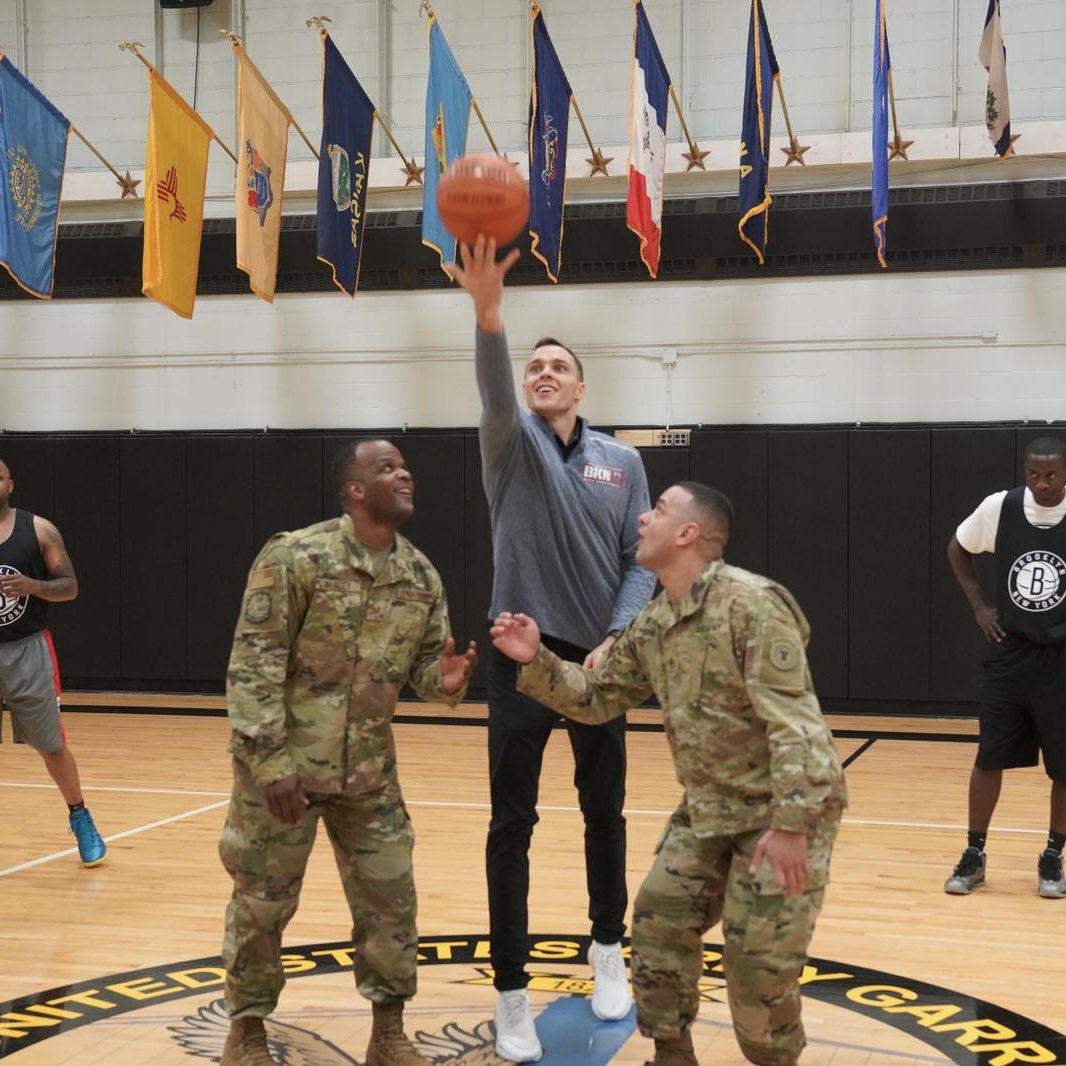 Photos from tonight's Hoops for Troops event at Fort Hamilton! We hosted a game for service members and a clinic for them and their families!