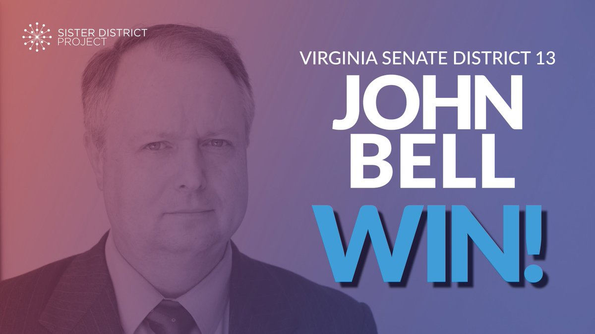 Our first #VASen flip of the night!  Congratulations to Senator-elect @DelegateJBell in VA SD-13!    We're so proud to have worked to help you serve the people of Virginia in both 2017 and 2019!   https:// sisterdistrict.com/candidates/joh n-bell/   …   #FlipVABlue #BlueWave2019<br>http://pic.twitter.com/tcE66DxlsF
