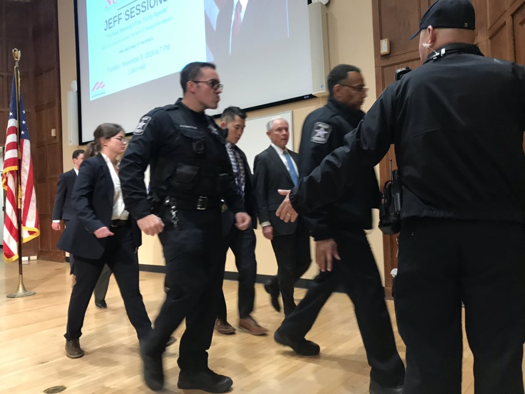 Jeff Sessions escorted from Northwestern U. under heavy security amid 'cancel culture' protest…