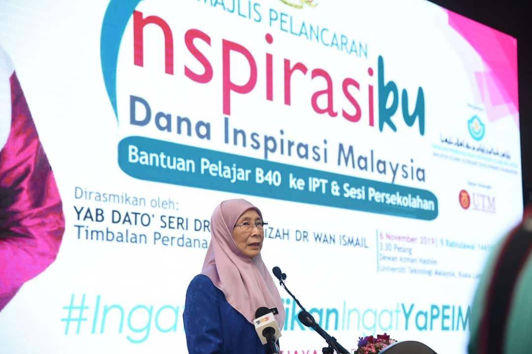 Dr Wan Azizah Ismail Ar Twitter Petang Tadi Saya Melancarkan Dana Inspirasi Malaysia Inspirasiku Iaitu Sebuah Dana Khas Kelolaan Yayasan Pembangunan Ekonomi Islam Malaysia Yapeim Bagi Membantu Pelajar B40 Ke Ipt Dan