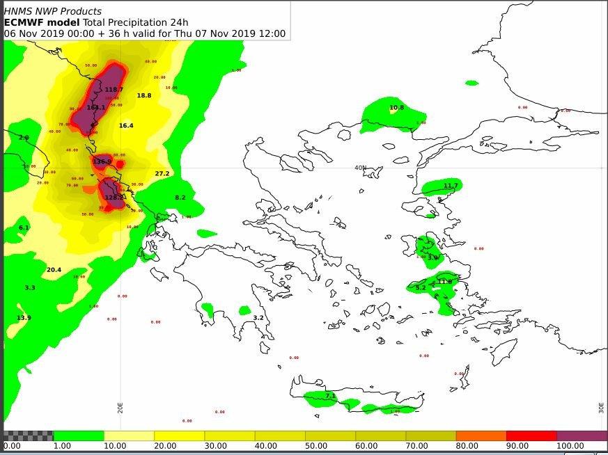 Στο Βόρειο Ιόνιο και την Ήπειρο προβλέπεται 24ωρος υετός τοπικά πάνω από 80-100 mm βροχής. Είναι πιθανόν να εκδοθεί #έκτακτο δελτίο επικίνδυνων καιρικών φαινομένων. Το μεσημέρι θα έχουμε περισσότερα διαθέσιμα στοιχεία για το #έκτακτο, @EmyEmk