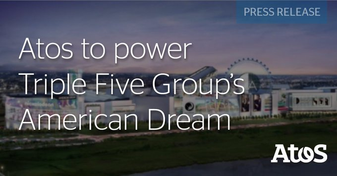 Atos today announced delivering #IoT and #AI solutions to Triple Five Group's @AmericanDream,...