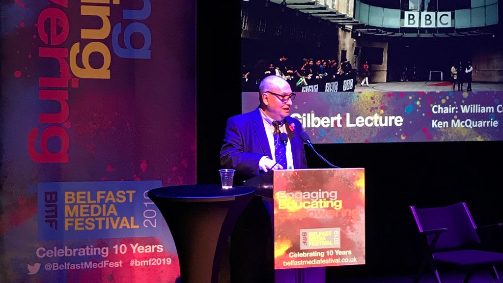 Ken MacQuarrie gave the RTS Dan Gilbert Memorial Lecture at #BMF2019 today. For the event's 10th anniversary he looked back in celebration but also forward to the decade ahead and announced new @BBCOne drama #Bloodlands: bbc.in/2Ck8Thw