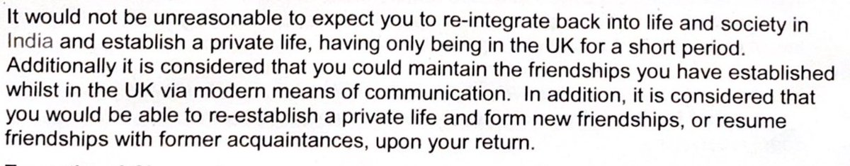 "They also considered my application with regards to my private life & decided that since I'm only 31 years old, I can ""reintegrate back into life and society in India"". Oh and I can keep in touch with my UK friends through ""modern communication"" [cuz you know WhatsApp FTW]"