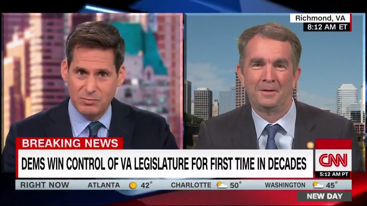 """This is an exciting day for the Commonwealth of Virginia, after 26 years we are officially blue,"" Virginia Gov. Ralph Northam reacts to Tuesday night's historic win for Virginia Democrats"