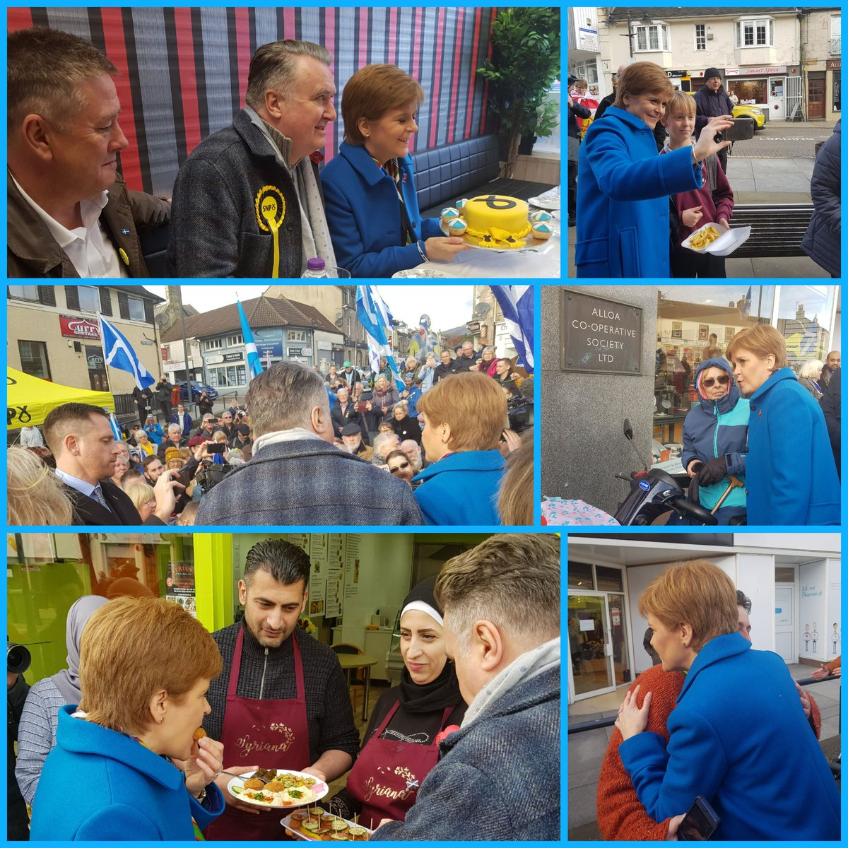 Falafel & cakes made for a yummy campaign visit to Alloa with @NicolaSturgeon & @theSNP candidate @MrJohnNicolson...@KeithBrownSNP came along as official cake taster 🍰 #VoteSNP #GE2019