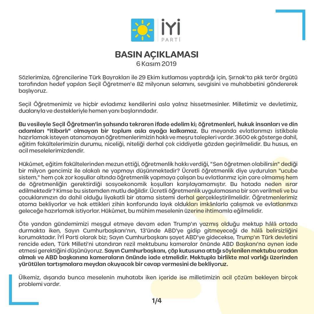 İYİ Parti, hukukun üstünlüğünün tesis edilmesi ve Türk Milleti'nin müreffeh geleceği için gayret göstermeye, sorumlu ve yapıcı muhalefetini sürdürmeye devam edecek.