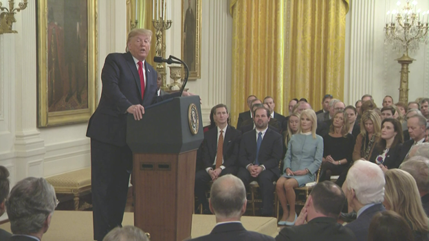 The president also decries judges who issue nationwide injunctions to invalidate executive actions and duly enacted laws. Says a good judge must suppress his personal views. If a judge wants to write the law, let them run for office, says @POTUS.