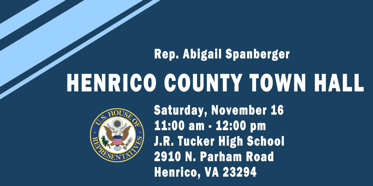 Don't forget #VA07, we have another town hall coming up this weekend. I'll be at J.R. Tucker High School on Saturday to listen to your concerns, answer your questions, and update you on the progress I'm making for our district. See you there!